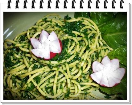 Spaghete de porumb cu spanac si leurda1