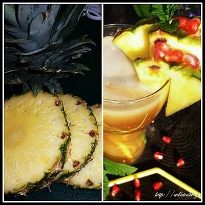 Suc de ananas, rodie si catina