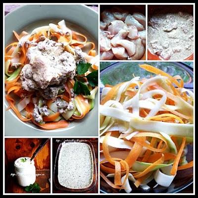 Pui cu pasta de susan si tagliatelle din morcov si dovlecel