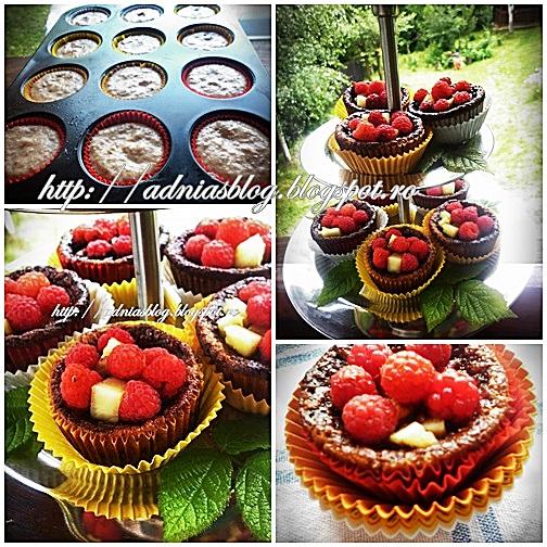Basket muffins cu zmeura si ananas