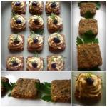 Mini-bites din crakers cu legume si pasta de linte cu migdale