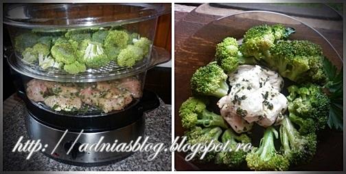 Piept de pui cu broccoli--reteta la steamer