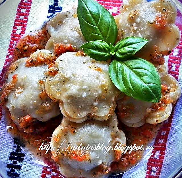 Margarete cu ciuperci si sos rosu--reteta la steamer pt. copii