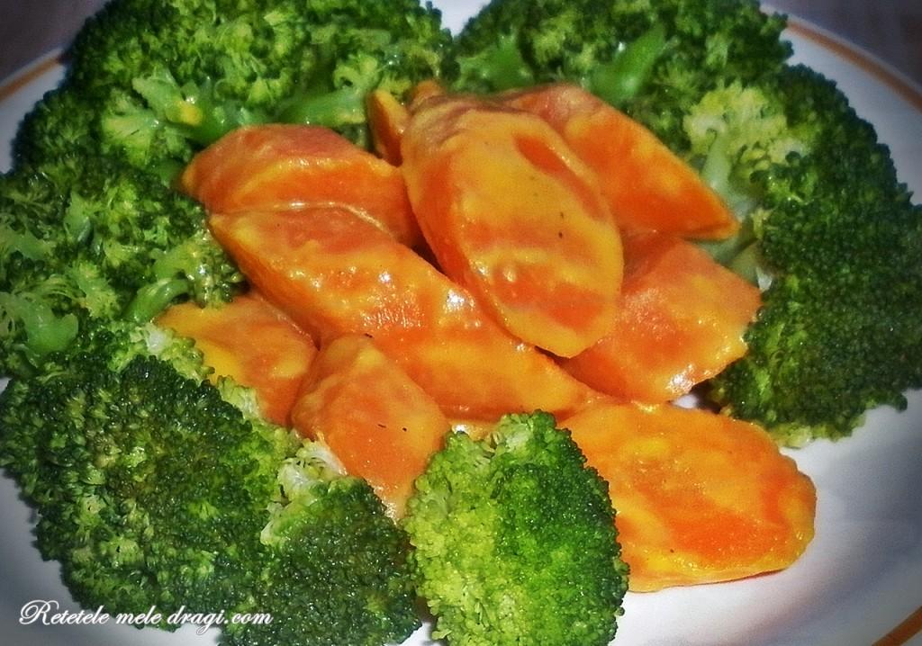 Morcovi glazurați cu sos de portocale si broccoli
