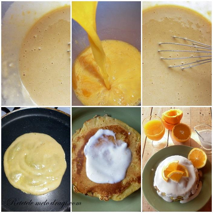 Pancakes cu suc de portocale preparare