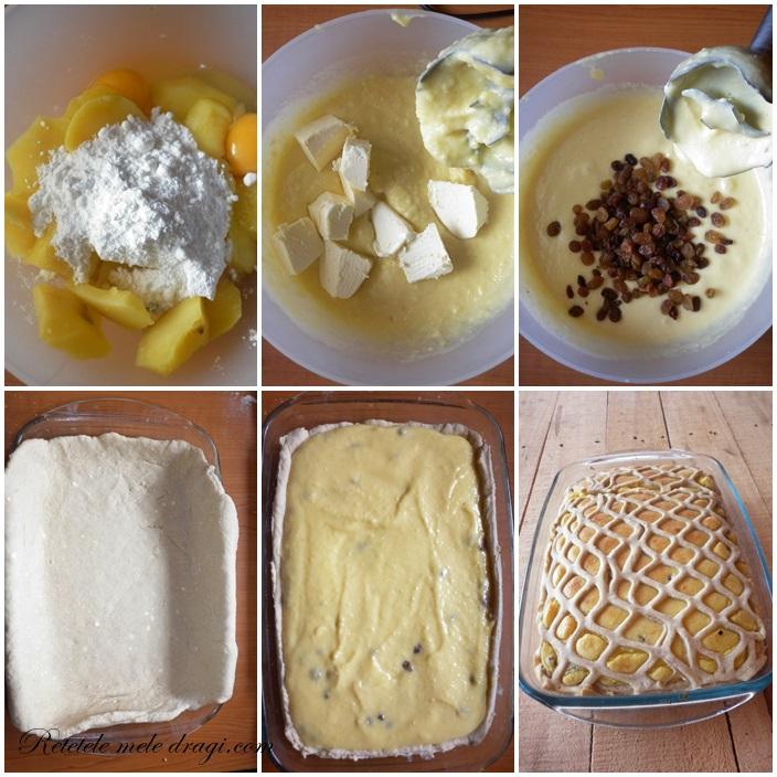 Placinta dulce cu cartofi si stafide--preparare