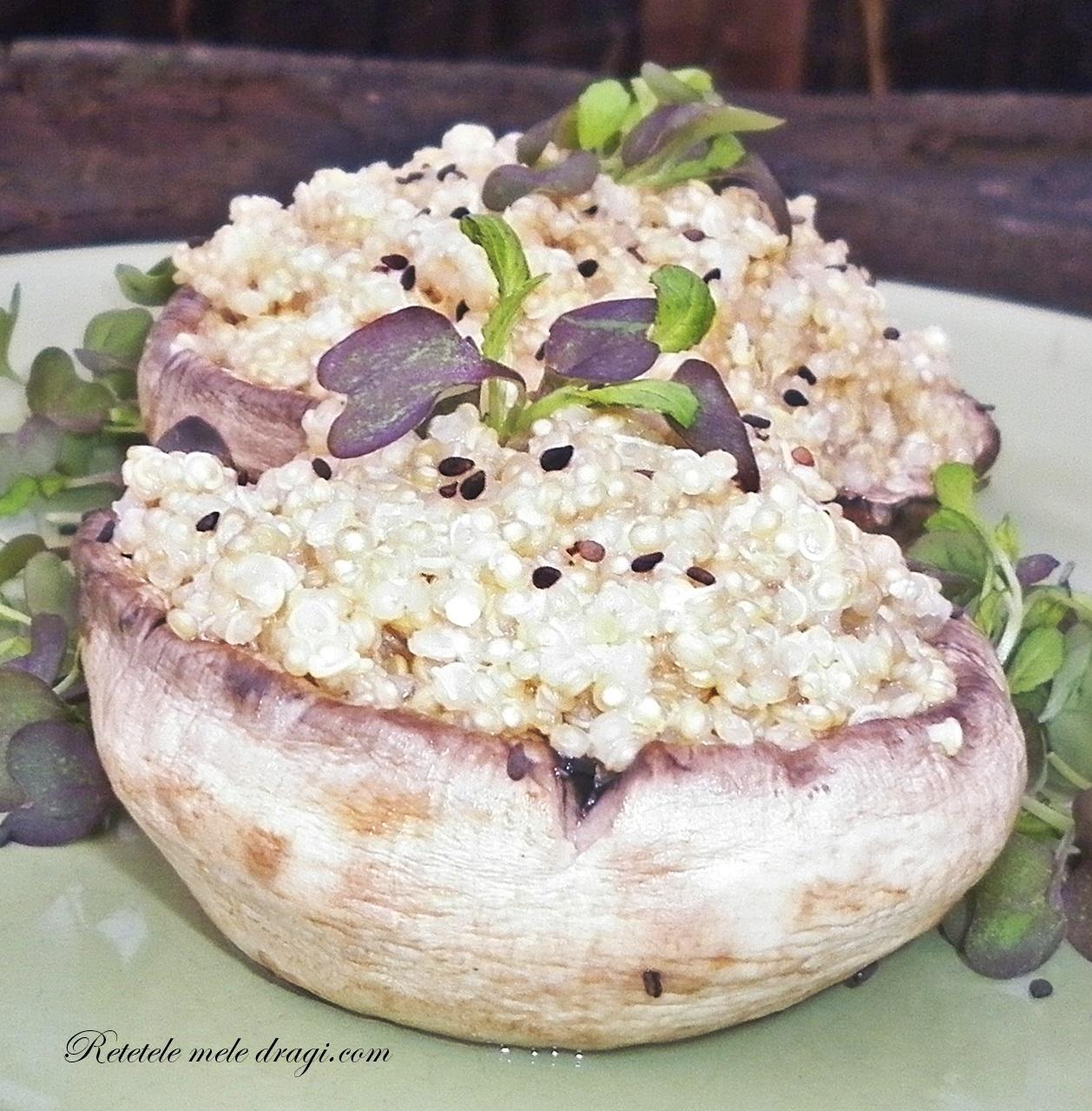 Ciuperci umplute cu quinoa si branza