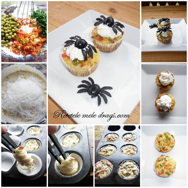 Briose din paste cu legume si branza