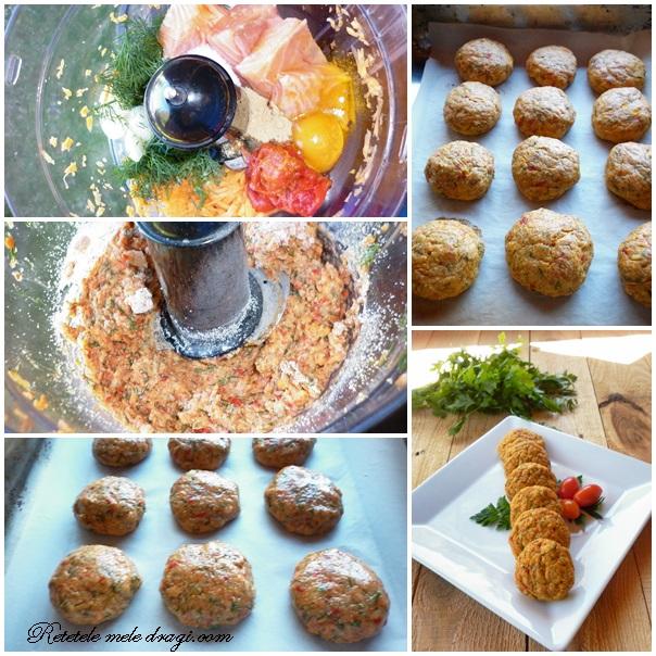 Chiftelute de somon cu legume preparare