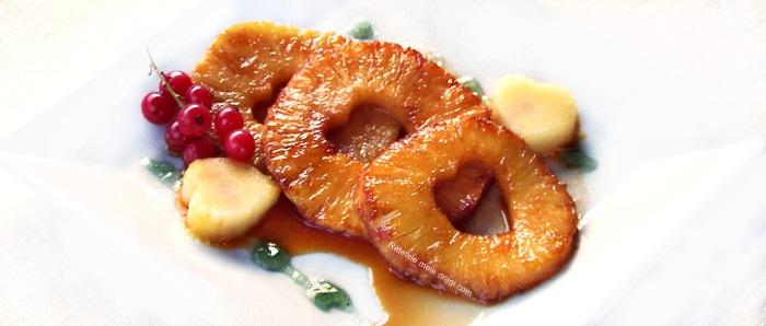 Ananas caramelizat cu jeleu de menta