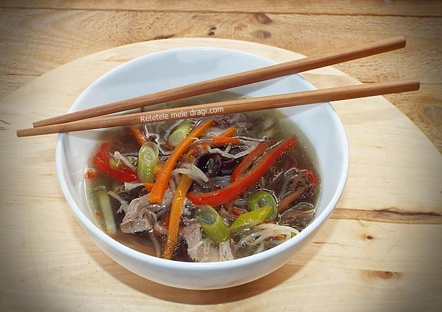 Supa de rata cu taietei soba (ramen)