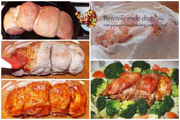 pulpa de porc glazurata si legume la aburi preparare
