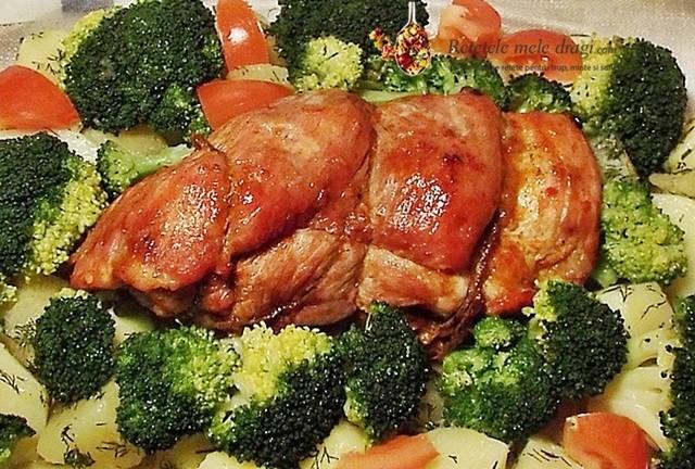 pulpa de porc glazurata si legume la aburi1