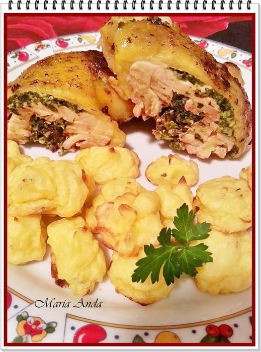 Pulpe de pui cu spanac si cartofi Duchesse1