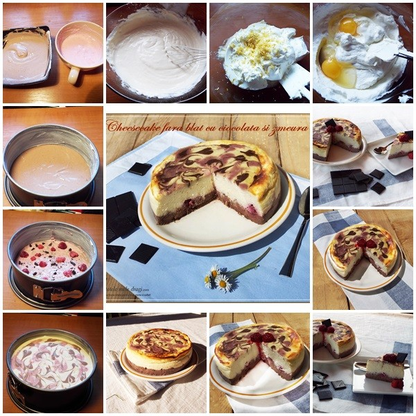 cheesecake fara blat cu ciocolata si zmeura preparare