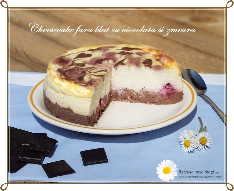cheesecake fara blat cu ciocolata si zmeura1
