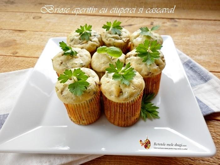 briose aperitiv cu ciuperci si cascaval