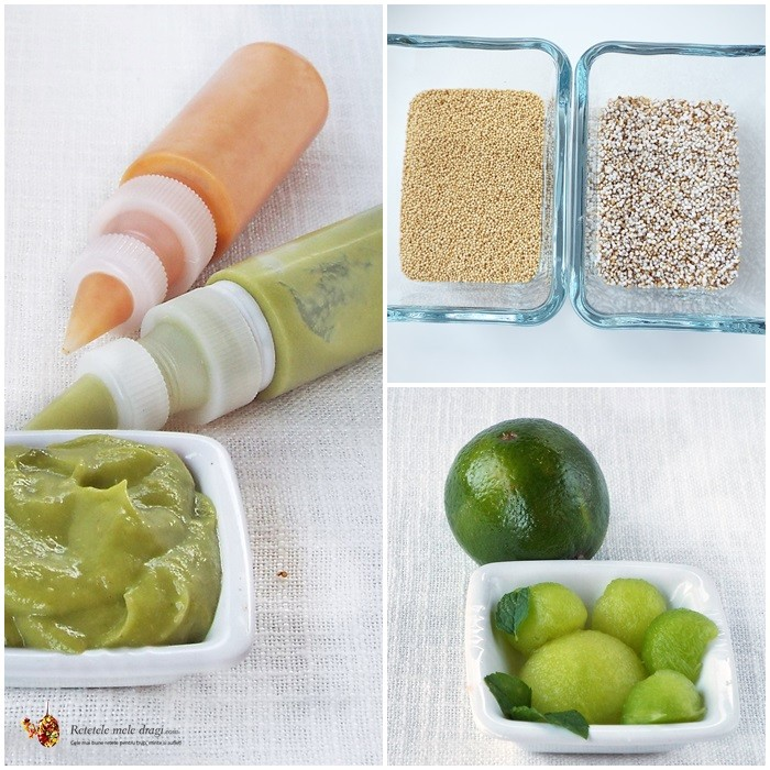 pasta avocado, amarant expandat si pepene galben