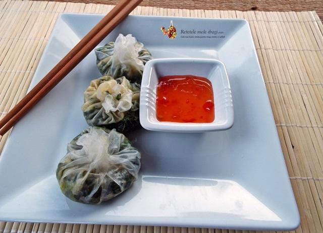 coltunasi chinezesti cu kale (wontons)