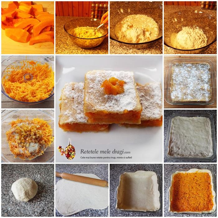 placinta de post cu dovleac si portocale confiate preparare