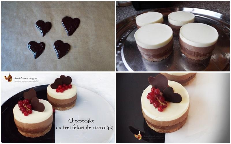 cheesecake cu trei feluri de ciocolata finisare