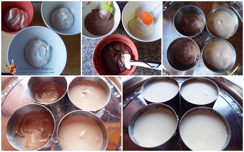 cheesecake cu trei feluri de ciocolata preparare crema