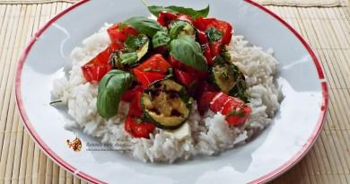 salata calda de legume la gratar