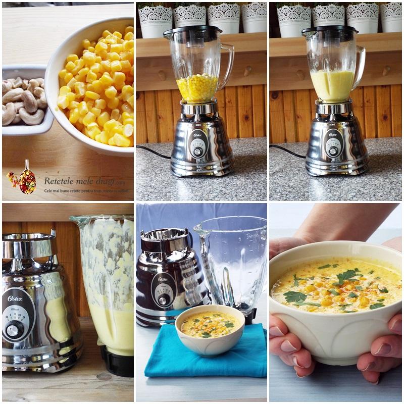 supa crema de porumb cu caju (chowder) preparare