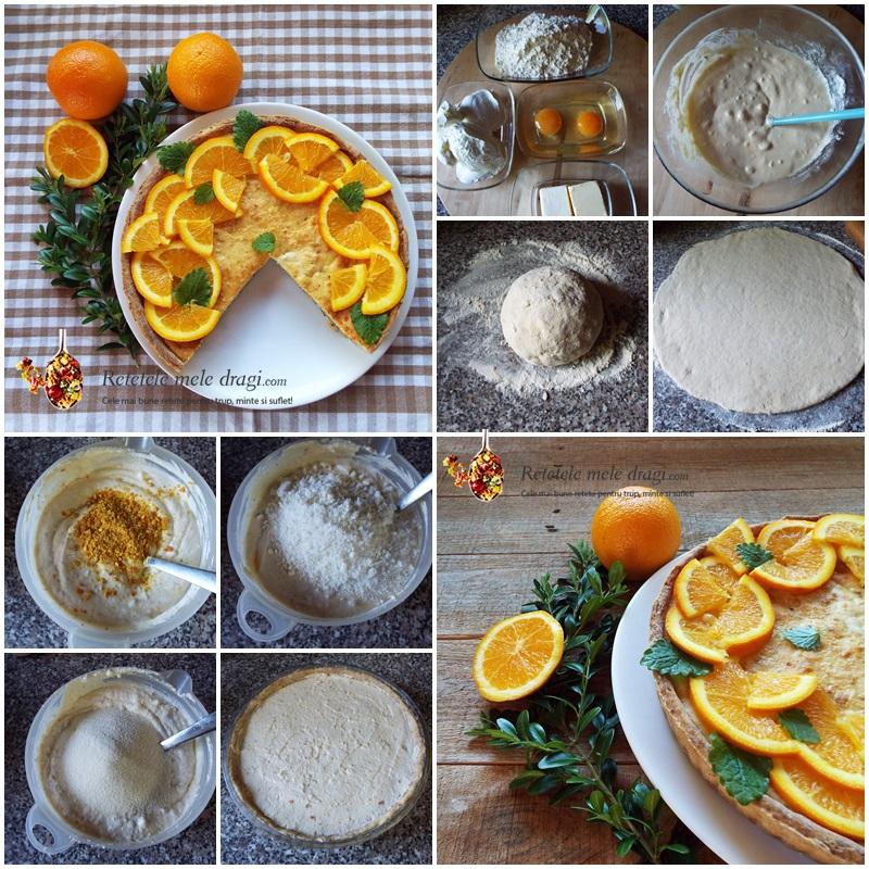 tarta cu branza si portocale preparare