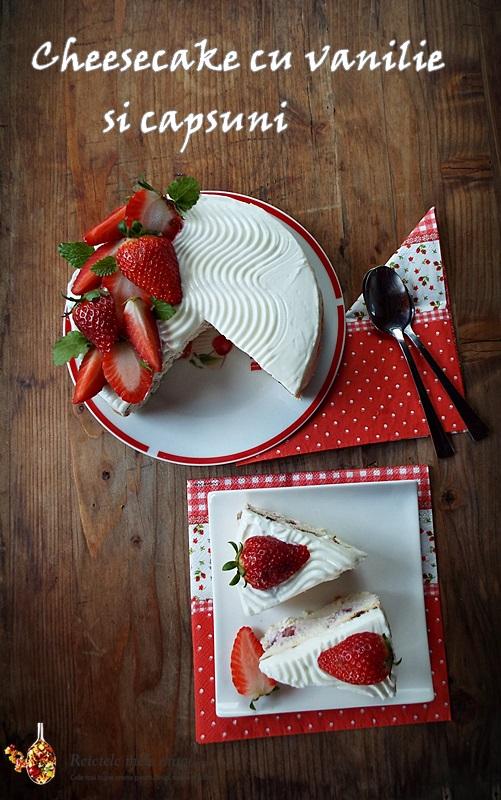 cheesecake cu vanilie si capsuni Pinterest