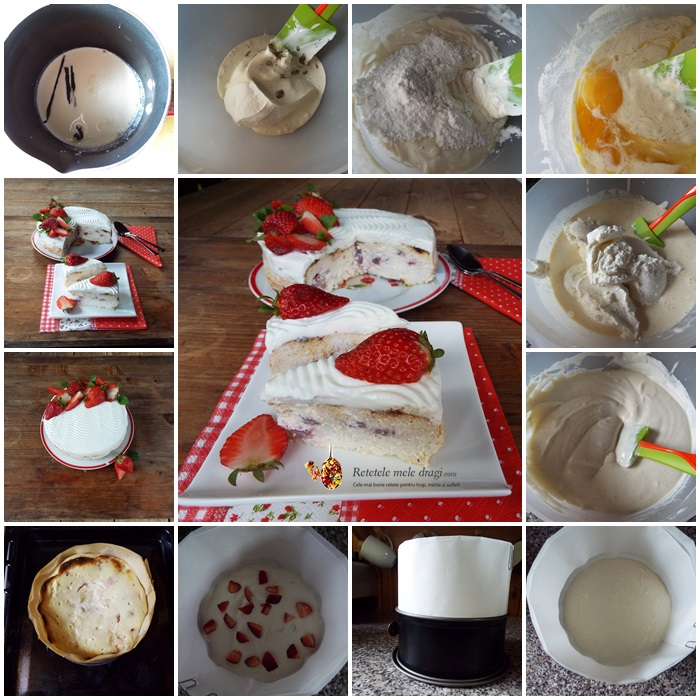 cheesecake cu vanilie si capsuni preparare