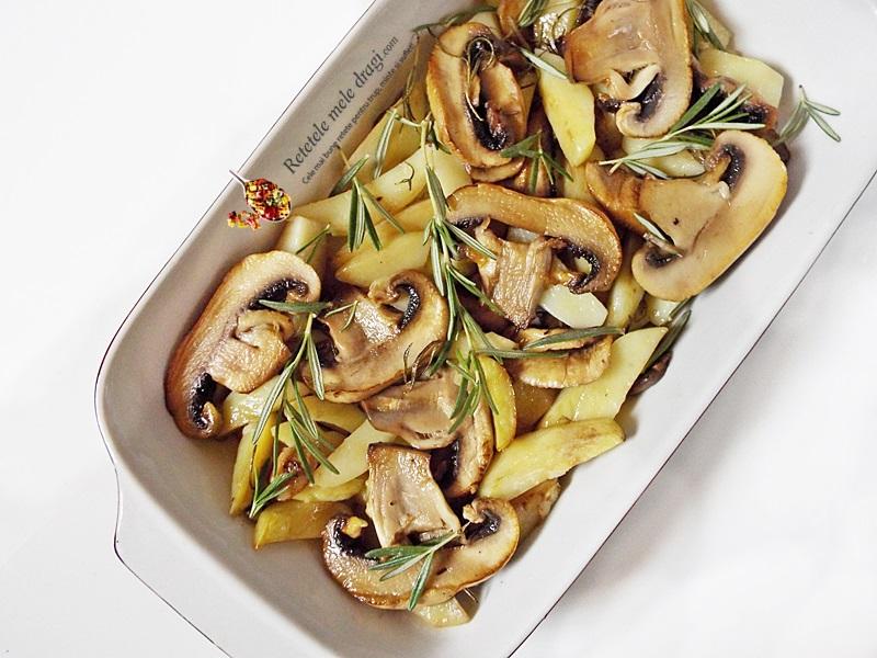 cartofi la cuptor cu ciuperci si rozmarin 1