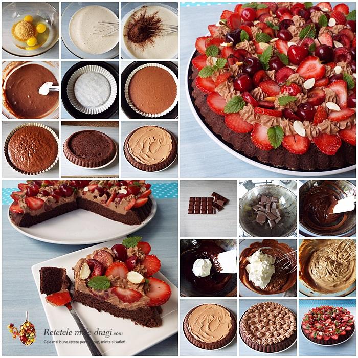 tarta cu ciocolata si fructe preparare