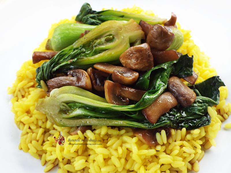 Pak choi cu ciuperci si orez la wok 1