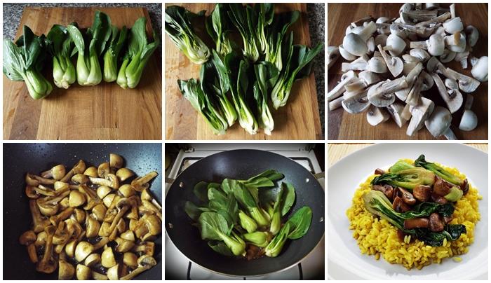 Pak choi cu ciuperci si orez la wok preparare