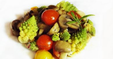 ciuperci cu conopida romanesco si rosii cherry la wok