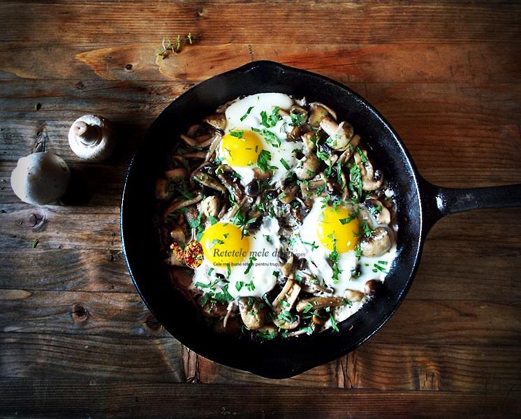 ciuperci la tigaie cu oua si patrunjel 1