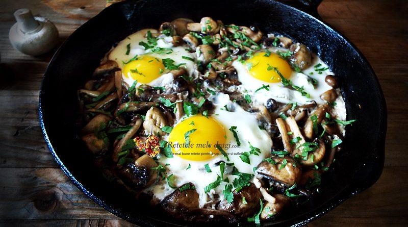 ciuperci la tigaie cu oua si patrunjel