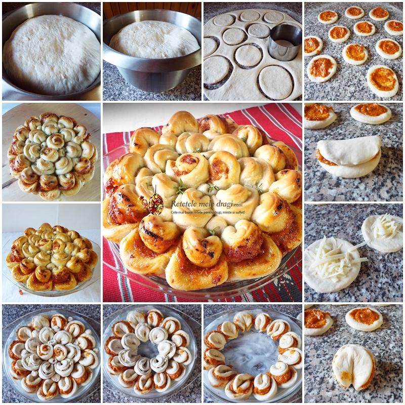floare din pizza cu blat pufos preparare
