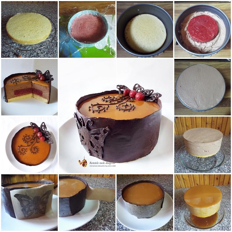 Tort Entremet cu ciocolata, visine si caramel preparare