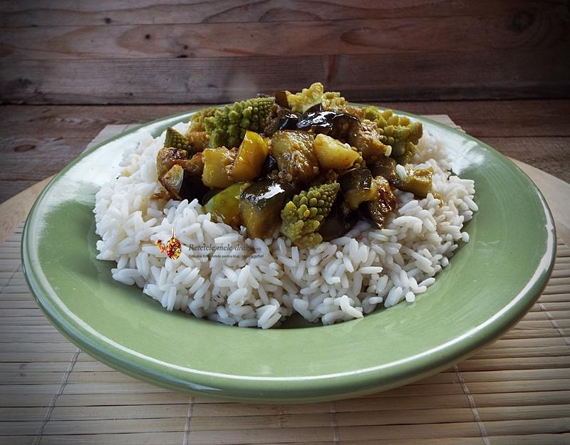 vinete cu conopida romanesco si turmeric la wok 1