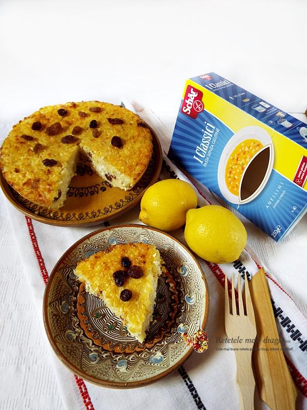 budinca din paste fara gluten cu branza dulce si stafide la cuptor 1