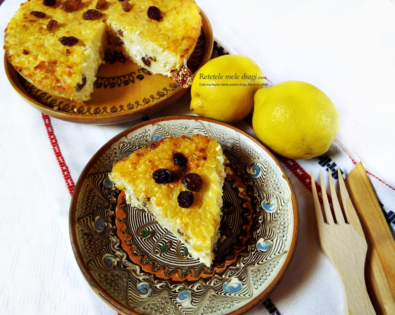 budinca din paste fara gluten cu branza dulce si stafide la cuptor