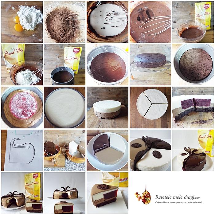 tort fara gluten cu ciocolata si zmeura preparare