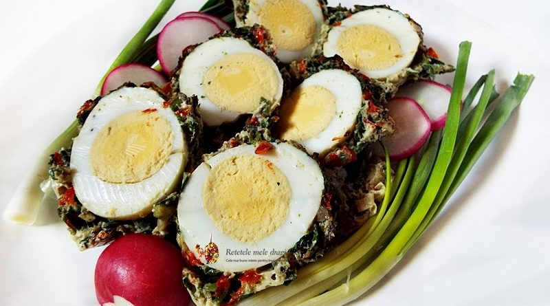 oua in crusta de verdeturi si ciuperci la cuptor 1