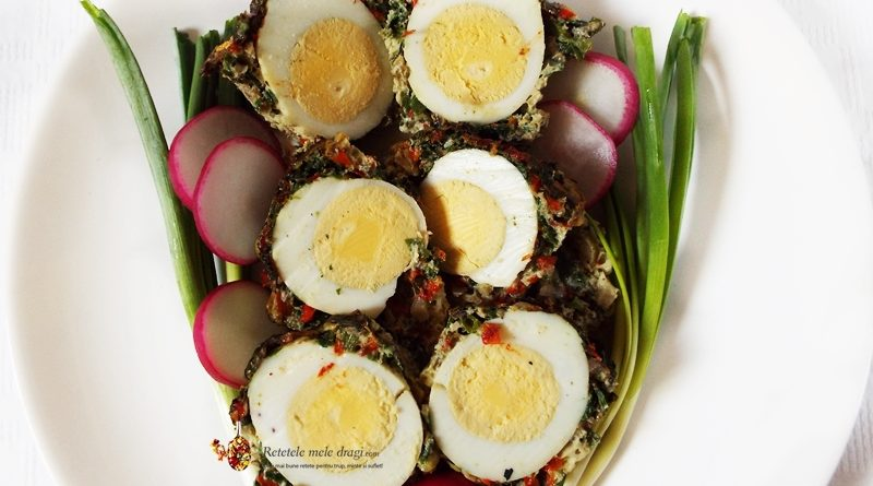 oua in crusta de verdeturi si ciuperci la cuptor
