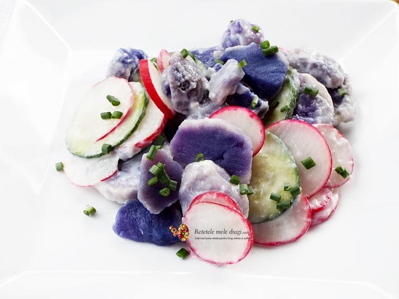 salata cu cartofi mov, ridichi si castraveti 1