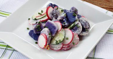 salata cu cartofi mov, ridichi si castraveti