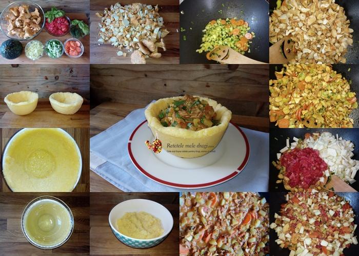 ghiveci de legume cu galbiori in bol de mamaliga colaj