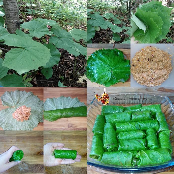 sarmale cu quinoa si legume in frunze de podbal preparare